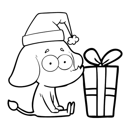 Cartoon unsure elephant sat on floor with Christmas present