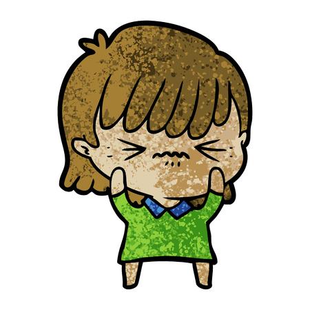 Annoyed cartoon girl Illusztráció