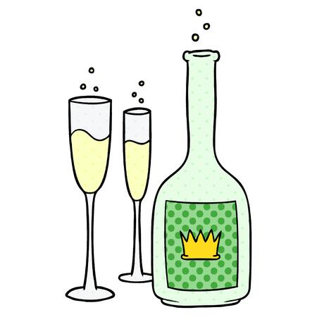 Cartoon Champagner Standard-Bild - 94839106