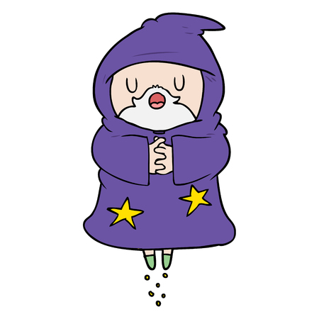 Cartoon floating wizard