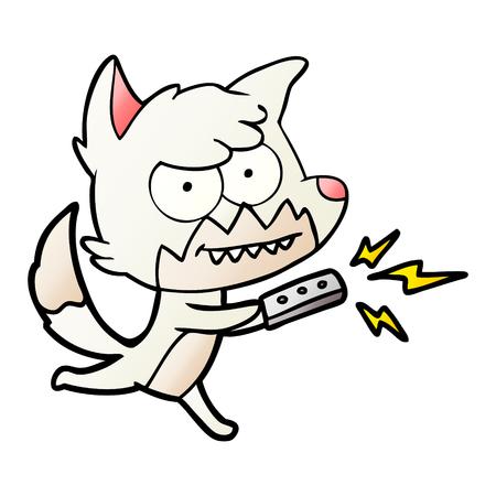 Cartoon grijnzende vos met afstandsbediening