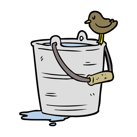Cartoon bird looking into bucket of water illustration on white background.