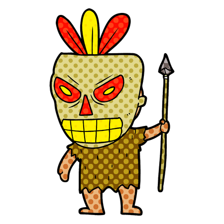 Xartoon cannibal shaman illustration on white background. 向量圖像
