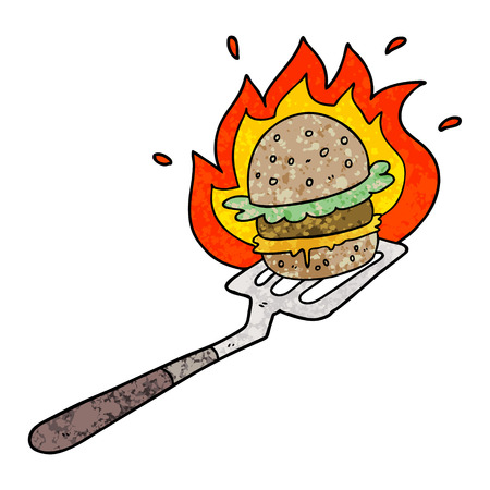 cartoon flaming burger on spatula