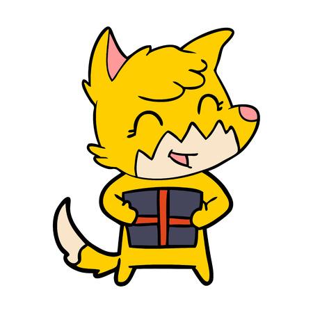 fox cartoon character with present Vector illustration. Ilustração