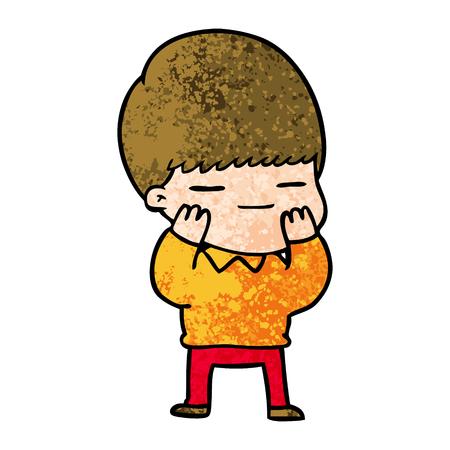 cartoon smug boy Vector illustration.