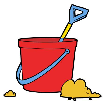 cartoon bucket and spade Vector illustration. Illustration
