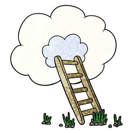 Cartoon ladder in de wolk