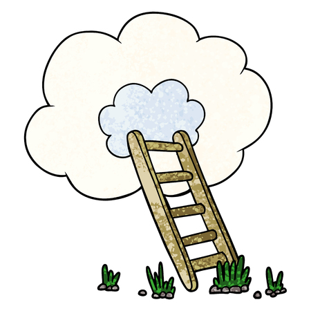 Cartoon  ladder into cloud