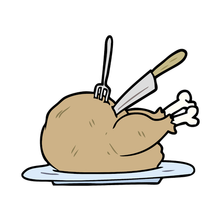 Cartoon cooked turkey being carved
