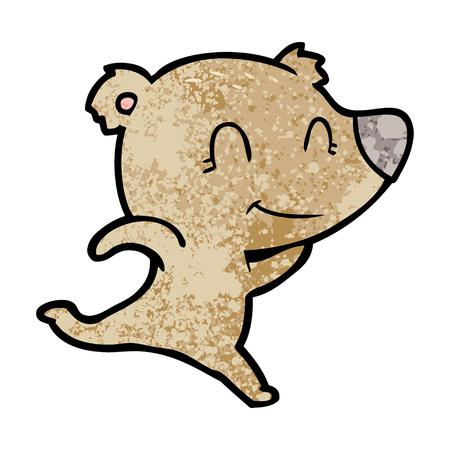 Friendly bear running cartoon
