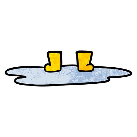 웅덩이에있는 만화 웰링턴 부츠 일러스트