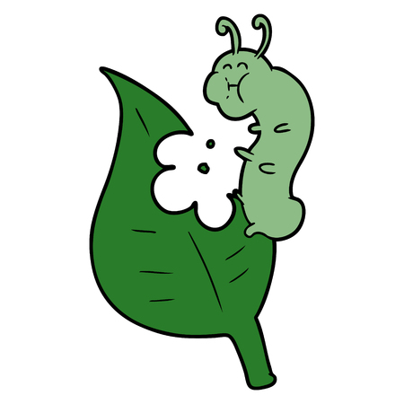 Cartoon caterpillar munching leaf  イラスト・ベクター素材
