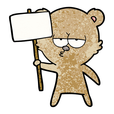 Bear cartoon character with protest sign 向量圖像