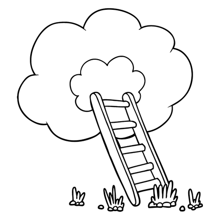 雲のイラストに漫画のはしご。  イラスト・ベクター素材
