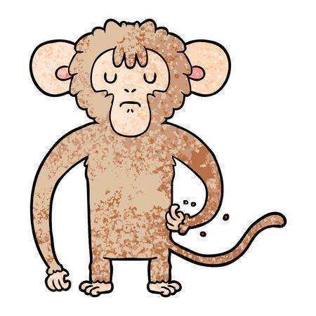 cartoon monkey scratching illustration.