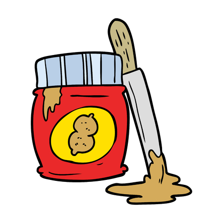 cartoon jar of peanut butter Vector illustration.