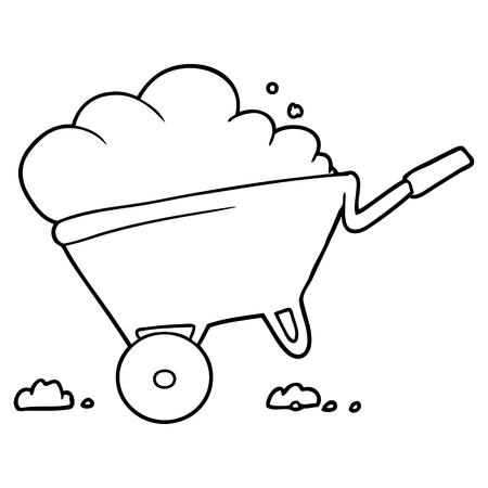 cartoon kruiwagen Vector illustratie.