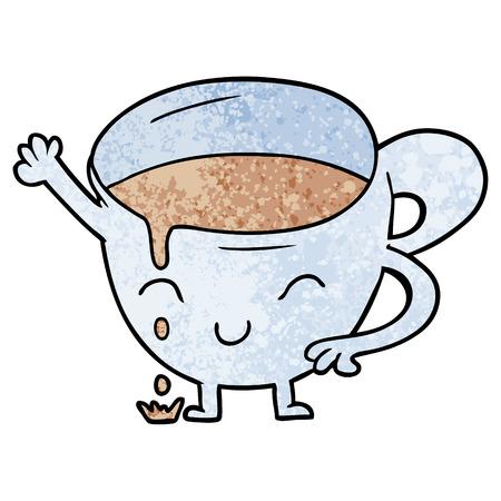 漫画こぼれティーカップベクトルイラスト。  イラスト・ベクター素材