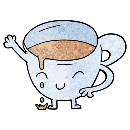 cartoon spilled teacup Vector illustration.