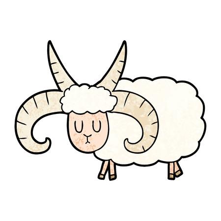 cartoon long horned ram Vector illustration. Çizim