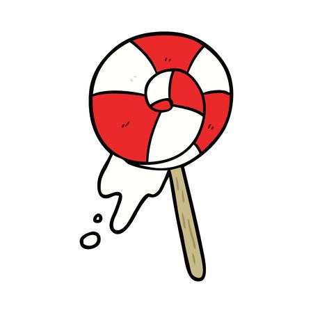Cartoon traditional lollipop illustration on white background.