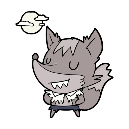 Cartoon Halloween werewolf illustration on white background.
