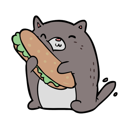 cartoon cat loving the amazing sandwich hes just made for lunch Ilustração