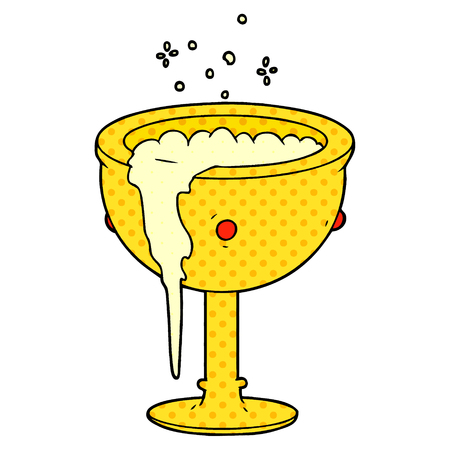 Cartoon magic goblet illustration on white background.