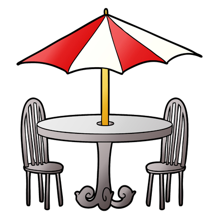 Cartoon cafe table illustration on white background. 向量圖像