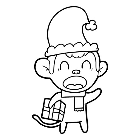 Shouting cartoon monkey carrying Christmas gift illustration on white background.