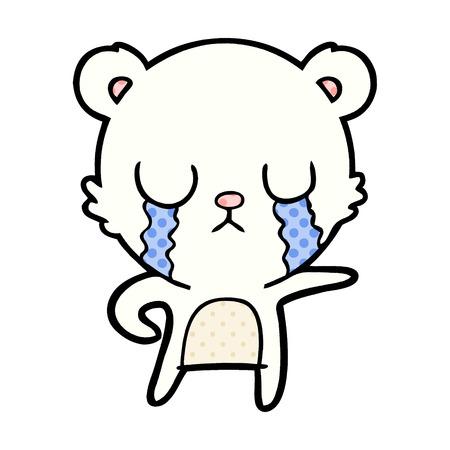 Sad little polar bear cartoon illustration on white background. Illustration