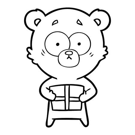 nervous polar bear cartoon with gift