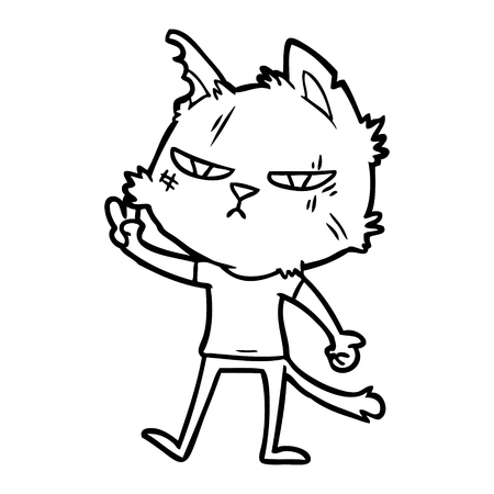tough cartoon cat giving victory sign