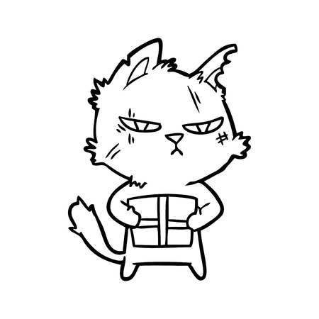 tough cartoon cat with christmas present