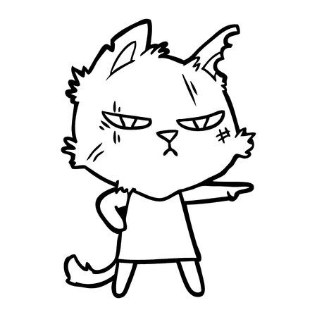 タフな漫画猫の女の子を指す  イラスト・ベクター素材
