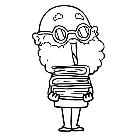 Cartoon joyful man with beard Çizim