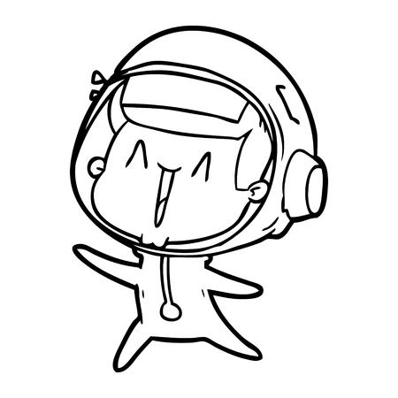 happy cartoon astronaut leaping