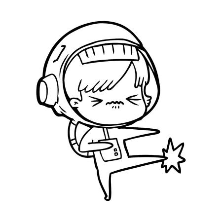 Angry cartoon space girl stubbing toe Ilustração