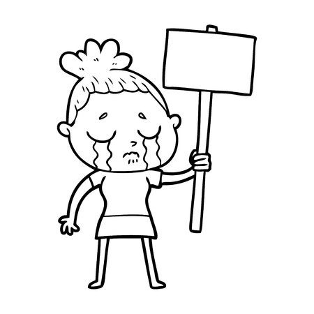 cartoon crying woman with protest sign Ilustração