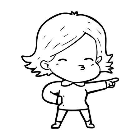 cartoon woman pointing 版權商用圖片 - 94878751
