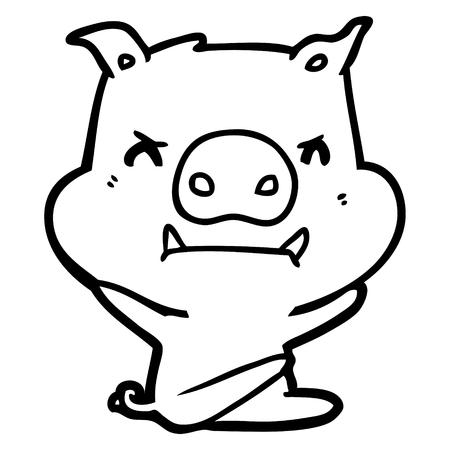 Angry cartoon pig throwing tantrum