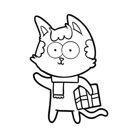 Happy cartoon cat with Christmas present.