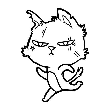 tough cartoon cat running 向量圖像
