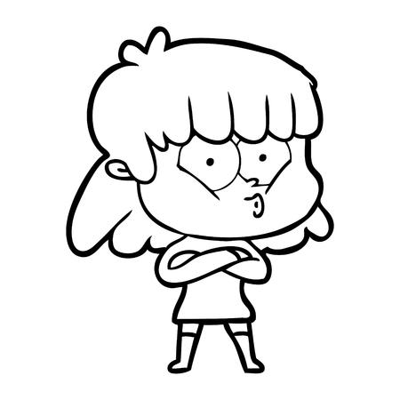漫画口笛の女の子  イラスト・ベクター素材