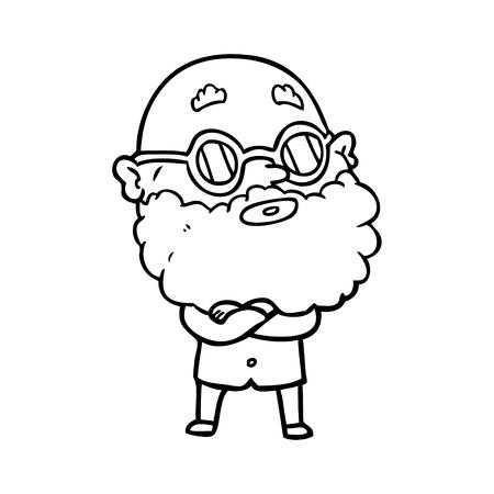 あごひげと眼鏡を持つ漫画好奇心旺盛な男