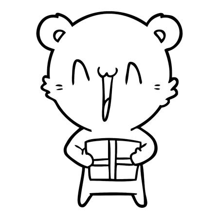 happy bear with gift cartoon Illustration
