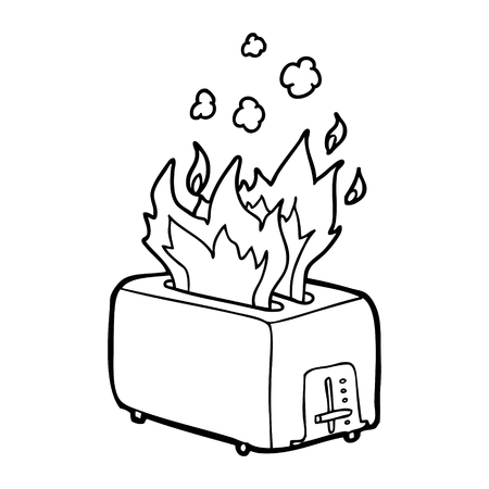 cartoon burning toaster Çizim