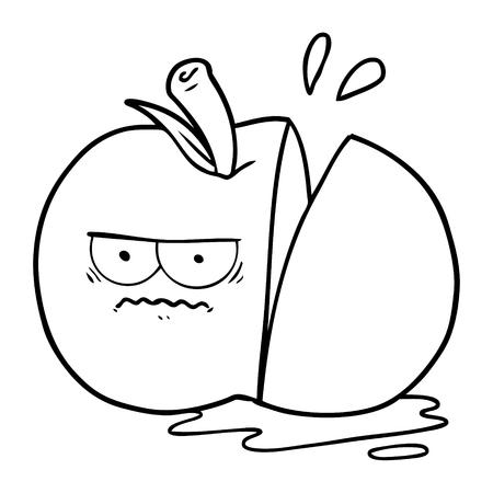 cartoon angry sliced apple