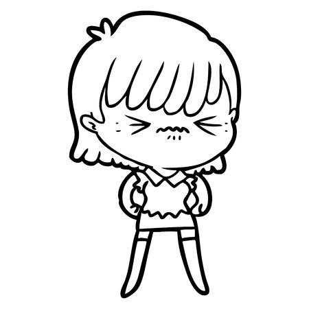화난 만화 소녀